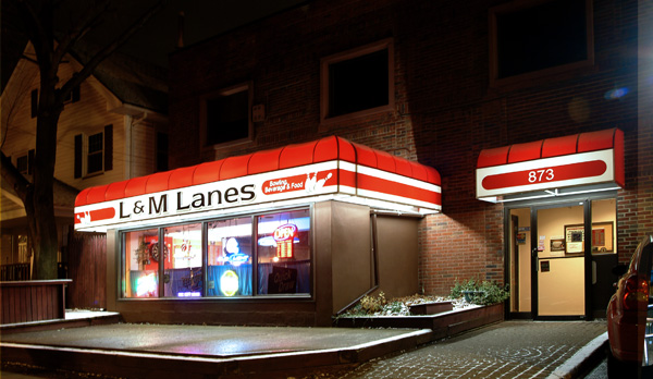 L & M Lanes Exterior at 873 Merchants Rd.